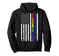 Police Support Lgbt Gay Pride Thin Red Line Rainbow Flag Fun T-shirt Hoodie Black