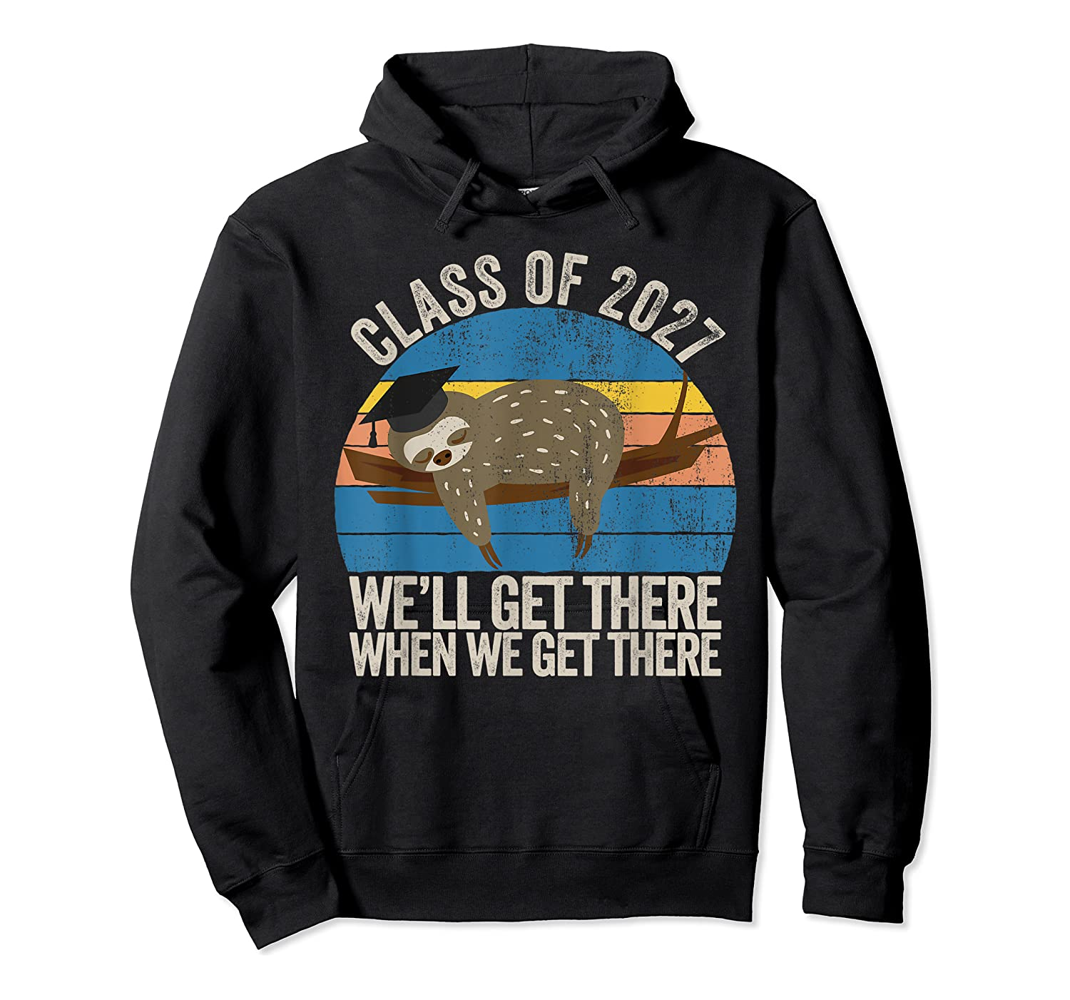 Distressed 5th Grade Class Of 2027 Sloth Grow With Me T-shirt Unisex Pullover Hoodie