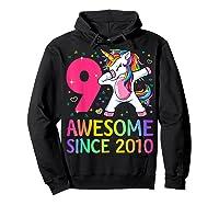 9 Years Old 9th Birthday Unicorn Dabbing Girl Party Shirts Hoodie Black