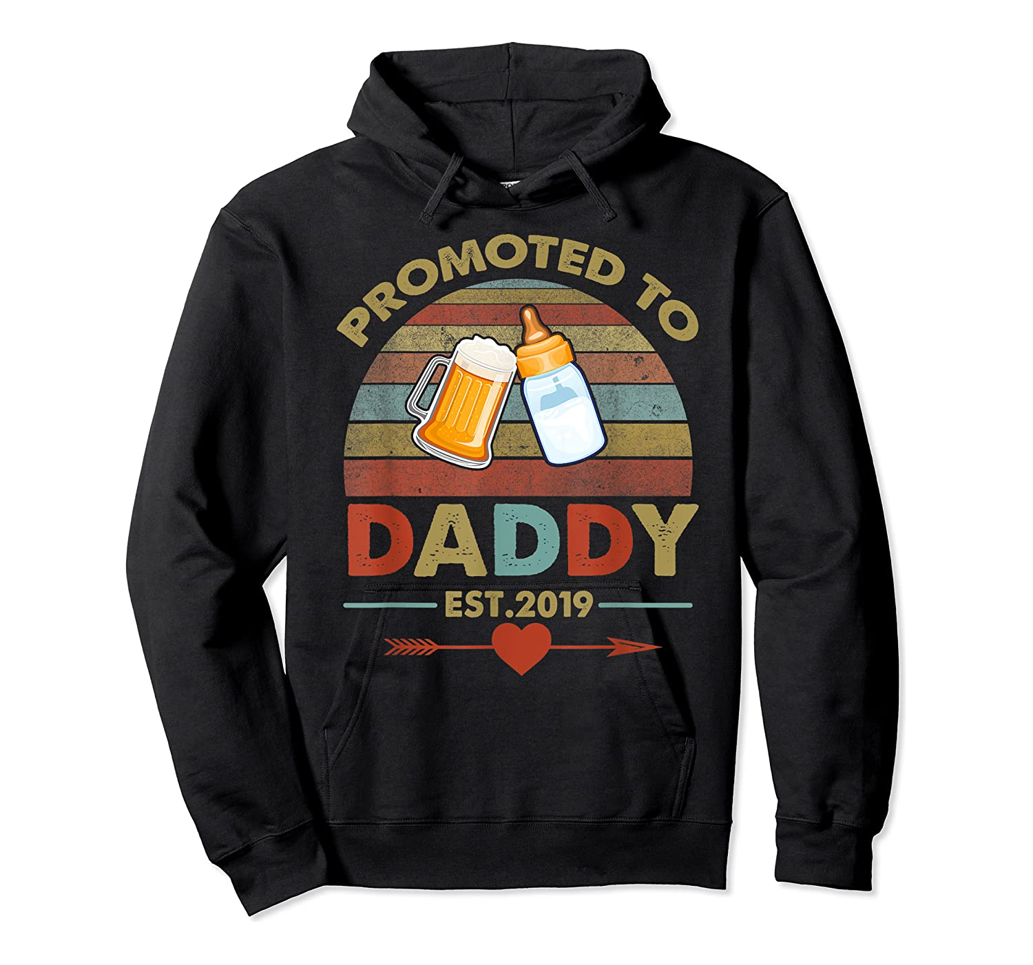 Promoted To Daddy Est 2019 Vintage Arrow T-shirt Unisex Pullover Hoodie