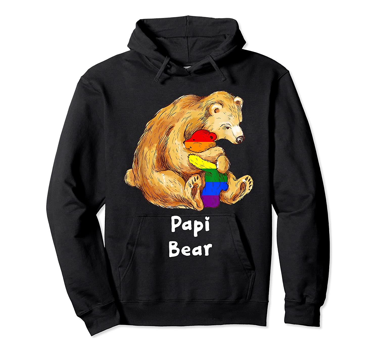 Papi Bear Proud Dad Lgbt Gay Pride Lgbt Dad Gifts Shirts Unisex Pullover Hoodie