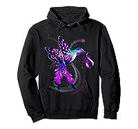 Hummingbird Purple Ribbon Pancreatic Cancer Awareness Shirts Hoodie Black
