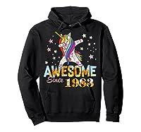 Dabbing Unicorn Awesome Since 1983 36th Birthday Gift 36 Yrs Shirts Hoodie Black