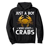 Just A Boy Who Loves Crabs Cute Animals Lovers Shirts Hoodie Black