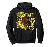 Sunflower Tats Naps & Cats Sunflower Tshirt Cat Lover Gifts Hoodie Black