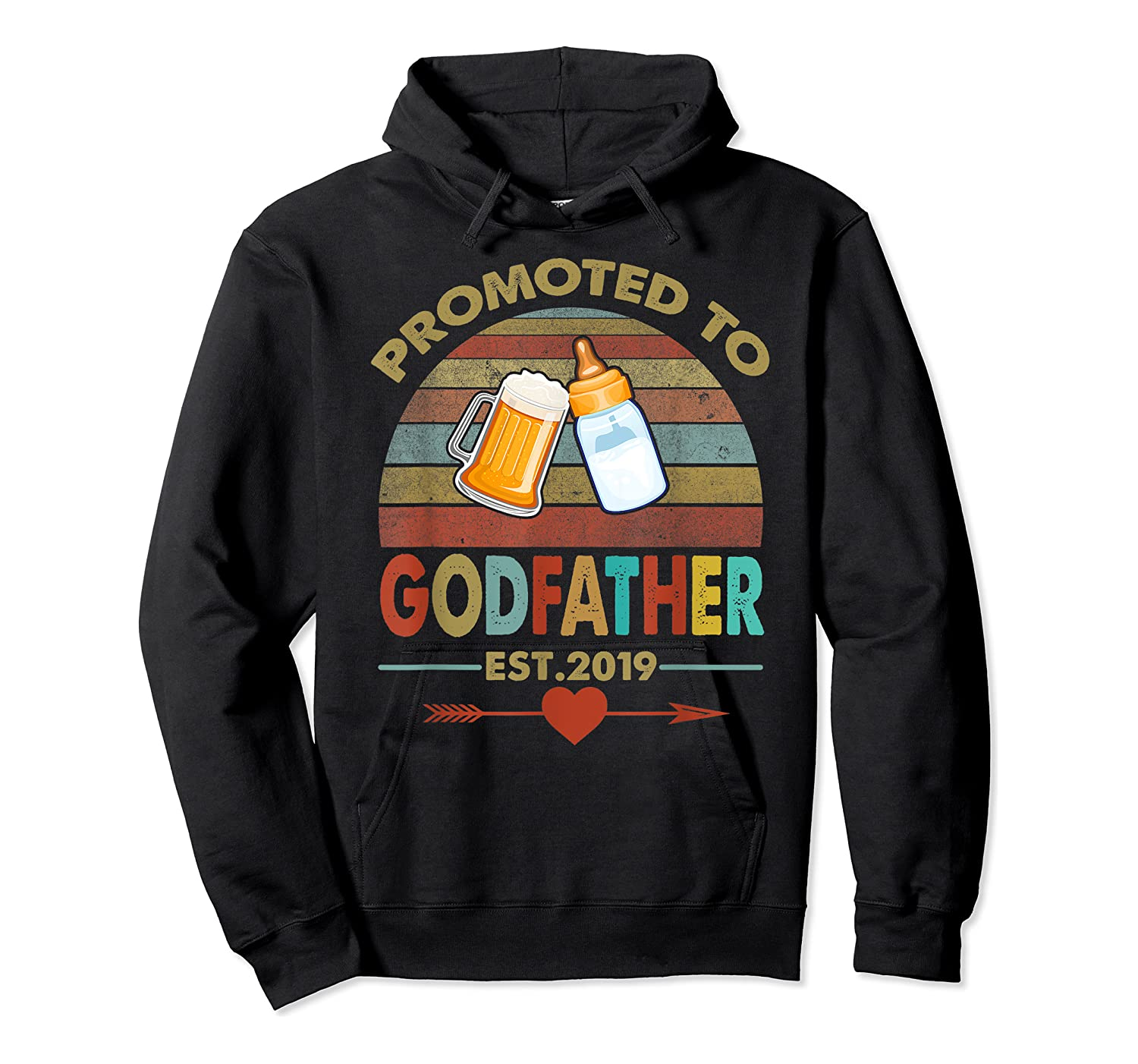Promoted To Godfather Est 2019 Vintage Arrow Shirts Unisex Pullover Hoodie