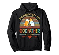 Promoted To Godfather Est 2019 Vintage Arrow Shirts Hoodie Black
