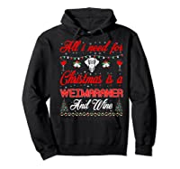 All I Want For Christmas Weimaraner And Wine Gift Premium T-shirt Hoodie Black