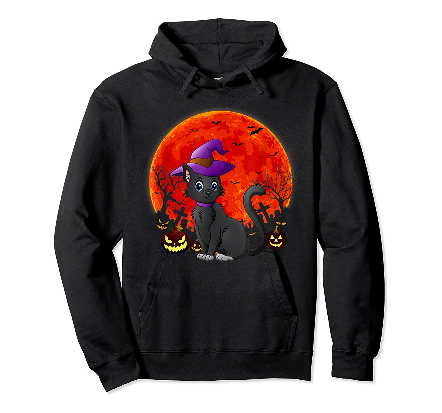 Vintage Scary Halloween Black Cat Costume Witch Hat & Moon T-shirt Unisex Pullover Hoodie