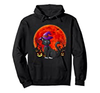 Vintage Scary Halloween Black Cat Costume Witch Hat & Moon T-shirt Hoodie Black