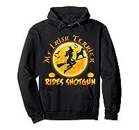 My Irish Terrier Dog Rides Shotgun Halloween Costumes Dogs T-shirt Hoodie Black