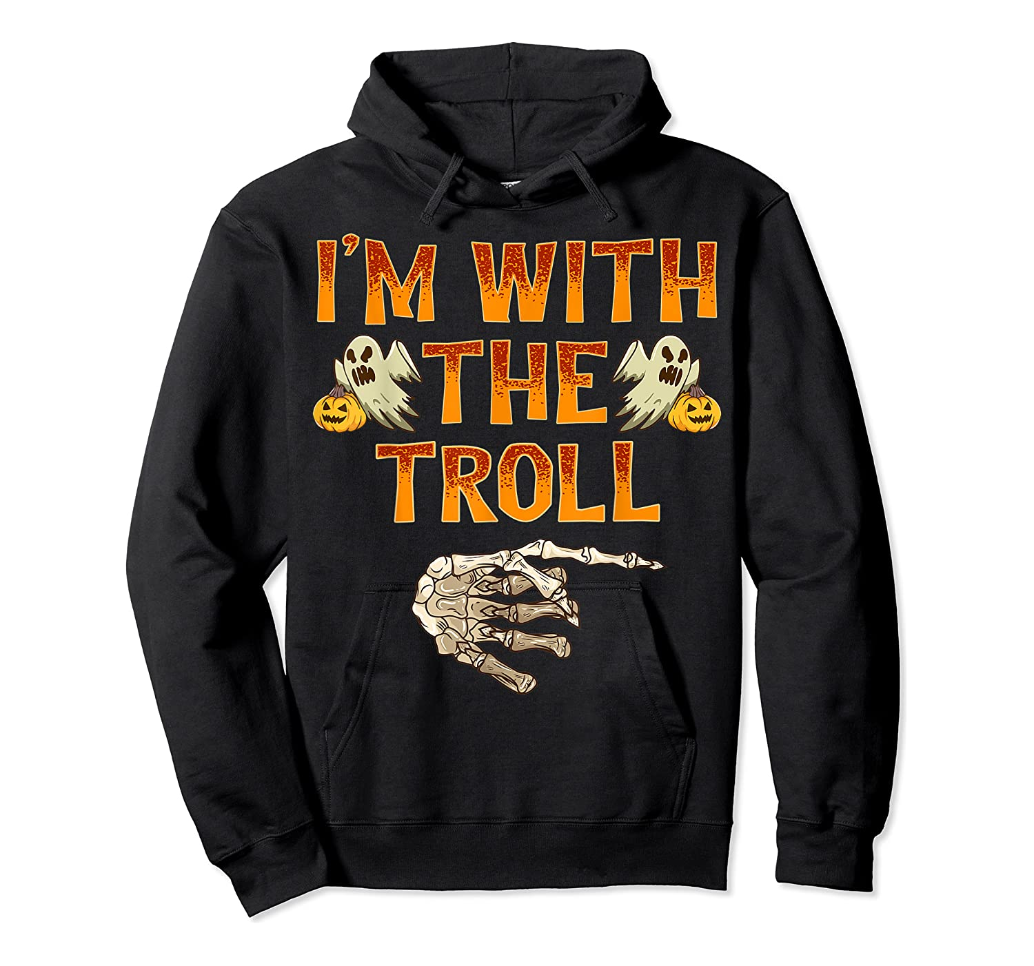 I'm With The Troll Costume Funny Halloween Couple Shirts Unisex Pullover Hoodie