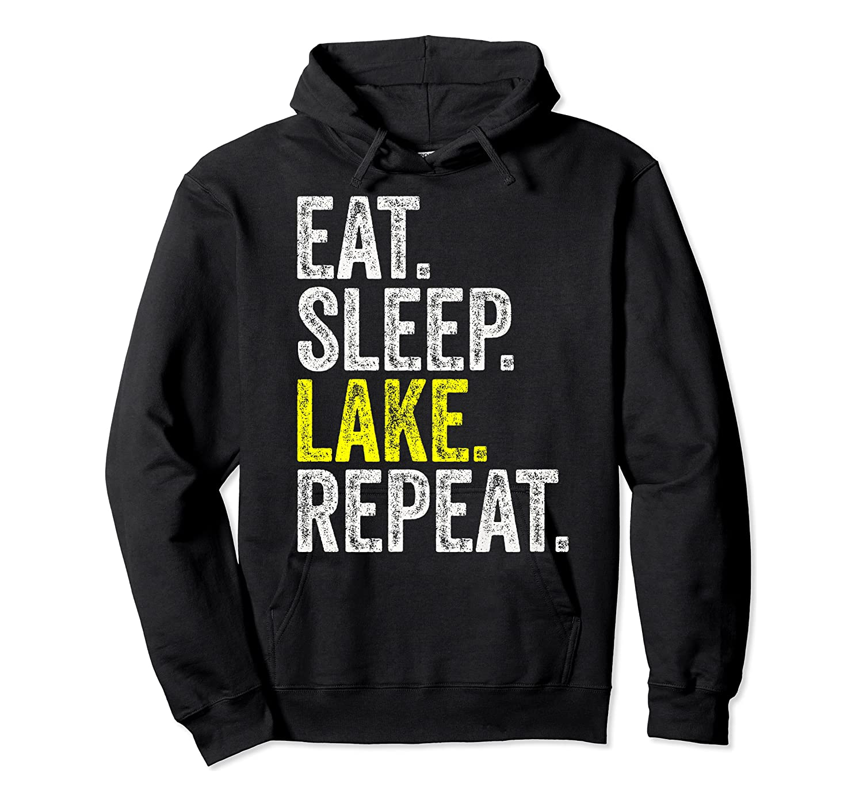 Eat Sleep Lake Repeat Summer Boating Vacation Boat Premium T-shirt Unisex Pullover Hoodie