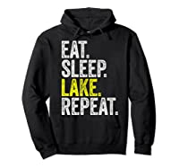 Eat Sleep Lake Repeat Summer Boating Vacation Boat Premium T-shirt Hoodie Black