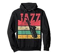 Saxophone Baritone Jazz Music Retro Vintage Gift T-shirt Hoodie Black