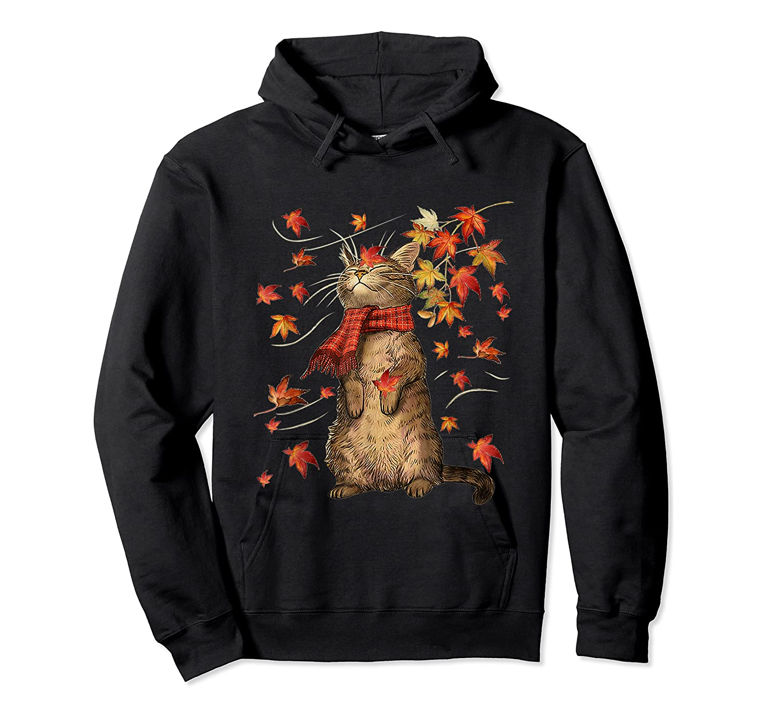 Cat Leaf Fall Hello Autumn Weather Shirts Unisex Pullover Hoodie