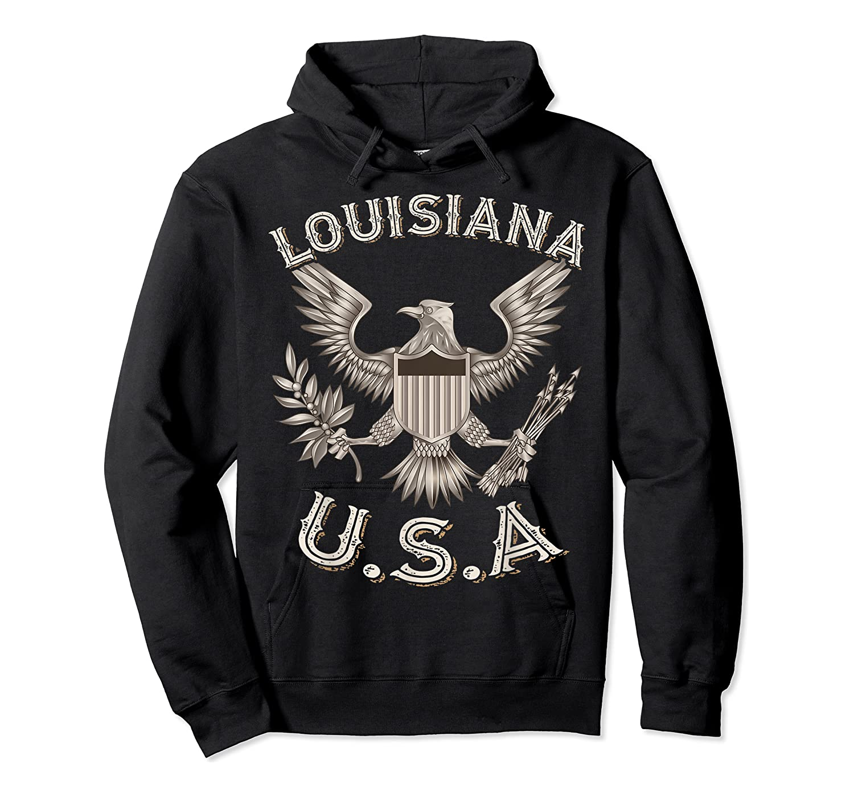 Louisiana Usa Patrio Eagle Vintage Distressed Shirts Unisex Pullover Hoodie