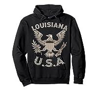 Louisiana Usa Patrio Eagle Vintage Distressed Shirts Hoodie Black