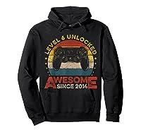 Retro 6th Birthday Gamer Level 6 Unlocked Awesome Since 2014 T-shirt Hoodie Black