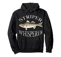 Striper Whisperer Striped Bass Fish Illustration Fishing T-shirt Hoodie Black