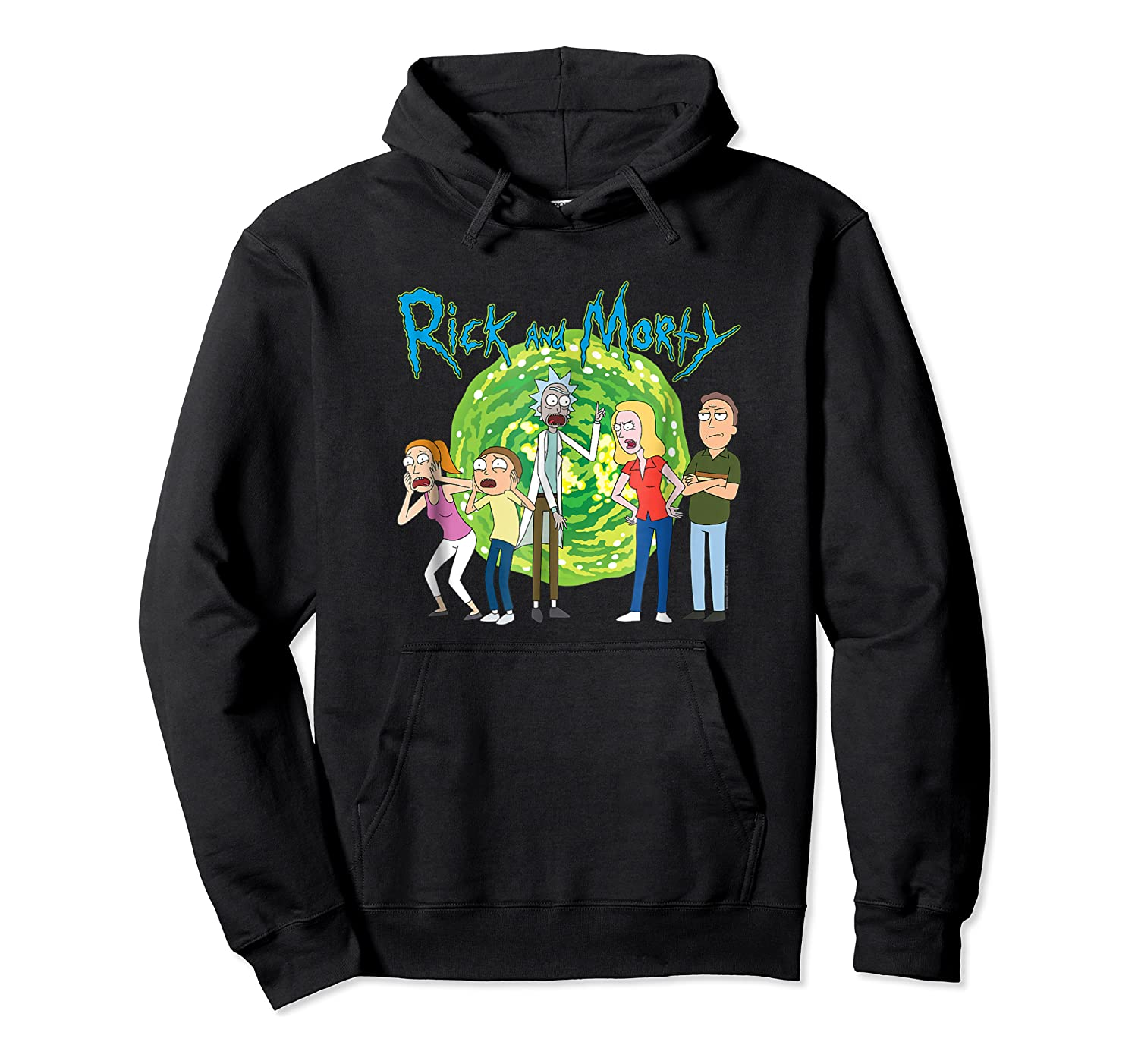 Rick & Morty Family Group Portal With Logo T-shirt Unisex Pullover Hoodie
