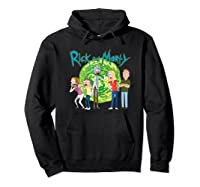 Rick & Morty Family Group Portal With Logo T-shirt Hoodie Black