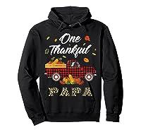 One Thankful Papa Truck Thanksgiving Day Family Matching T-shirt Hoodie Black