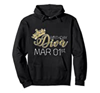 Birthday Diva On March 1st Pisces Pride Shirts Hoodie Black