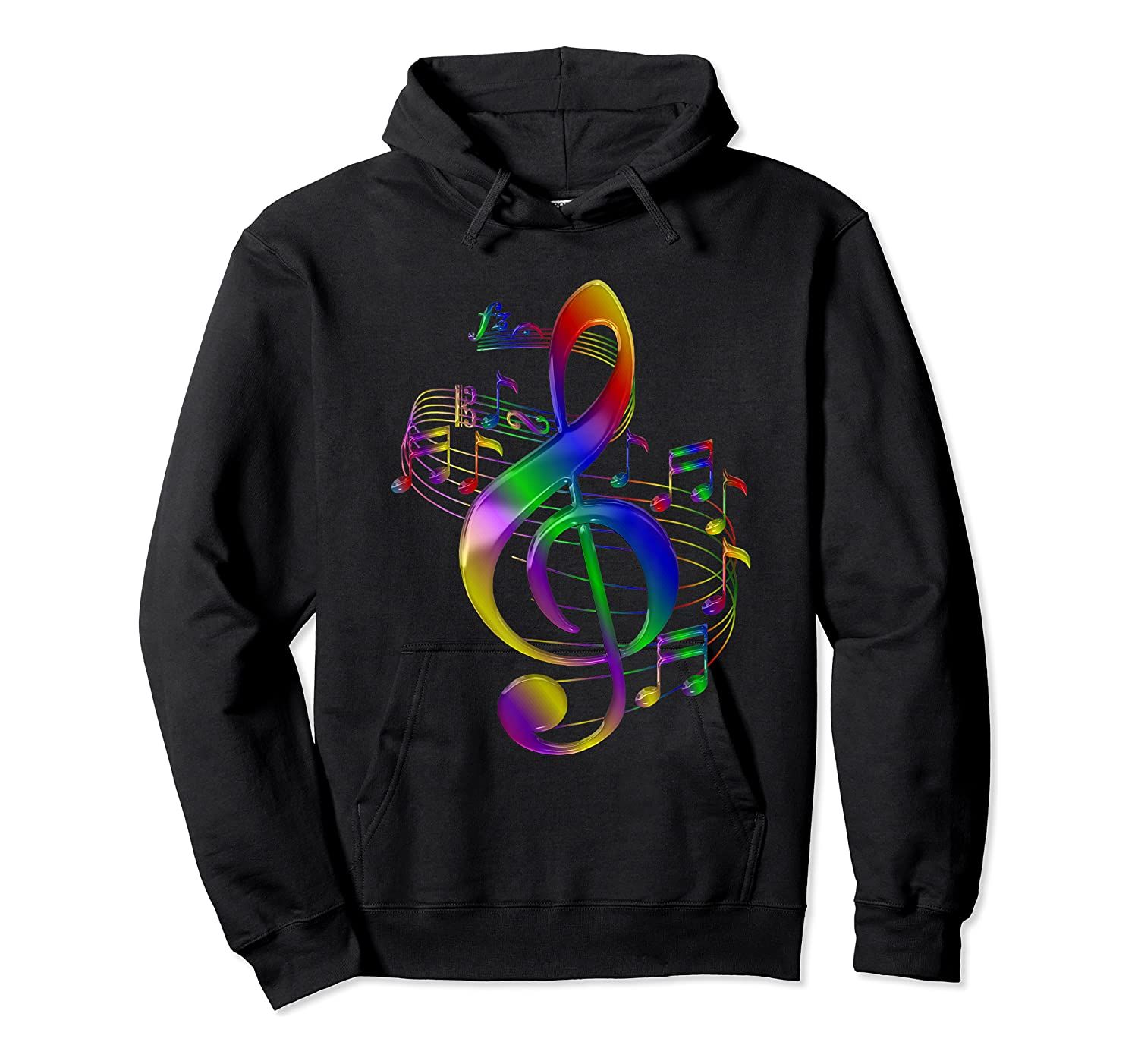 Treble Clef With Music Notes Shirts Unisex Pullover Hoodie
