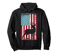 American Flag Deer Hunter, Patriotic Gift Idea For T-shirt Hoodie Black