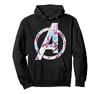 Avengers Logo Floral Super Hero Shirts Hoodie Black