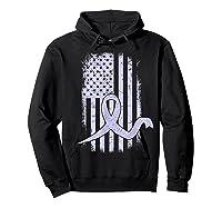 American Flag Stomach Cancer Awareness Ribbon T-shirt Hoodie Black