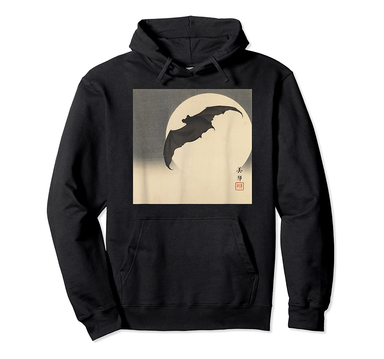 Bat In Moon 1905 Japanese Woodblock Art Meiji Period Shirts Unisex Pullover Hoodie