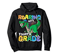 Roaring Into Fourth Grade 4 Dinosaur Back To School Soccer Shirts Hoodie Black