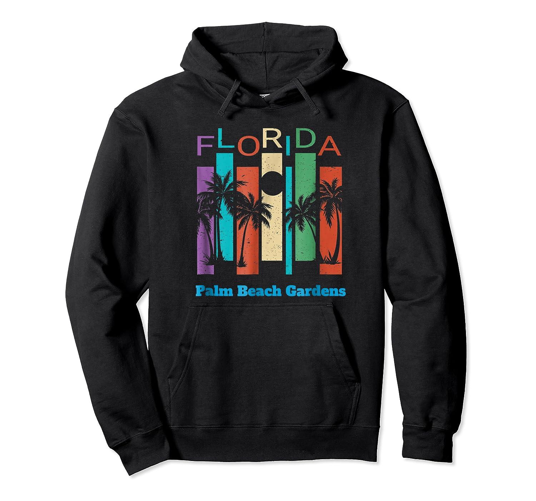 Retro Palm Beach Gardens Florida Palm Tree Souvenir Shirts Unisex Pullover Hoodie