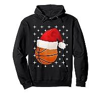 Christmas Stars Basketball Ball Santa Hat Funny Sports Xmas T-shirt Hoodie Black