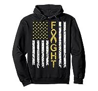 Childhood Cancer Awareness T-shirt American Flag Distresse T-shirt Hoodie Black