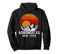 Adirondacks Retro Mountain Sunset Shirts Hoodie Black