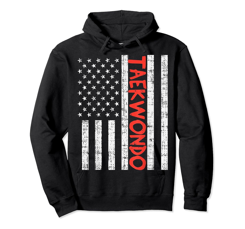 Us Flag Taekwondo Vintage Patriotic Martial Arts Lover Gift T-shirt Unisex Pullover Hoodie