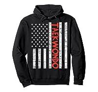 Us Flag Taekwondo Vintage Patriotic Martial Arts Lover Gift T-shirt Hoodie Black