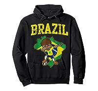 Brazil Soccer Boy Brazilian Football Dabbing Shirts Hoodie Black