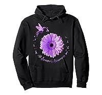Hummingbird Sunflower Purple Ribbon Alzheimer's Awareness Shirts Hoodie Black