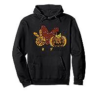 Peace Love Halloween Leopard Print Pumpkin Custom Gift Premium T-shirt Hoodie Black