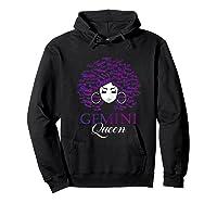 Black Afro Hair Gemini Queen Birthday Gift T-shirt Hoodie Black