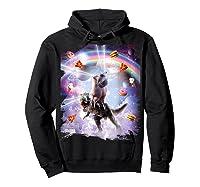 Laser Eyes Space Cat On Dinosaur - Rainbow T-shirt Hoodie Black