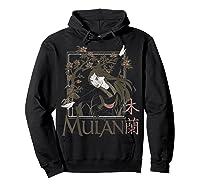 Disney Mulan Floral Square Portrait T-shirt Hoodie Black
