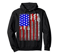 Guitar Vintage American Usa Flag Rock 4th Of July Shirts Hoodie Black