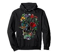 Skull Flowers Tulip Sugar Skull Tree Floral Skull Rose T-shirt Hoodie Black