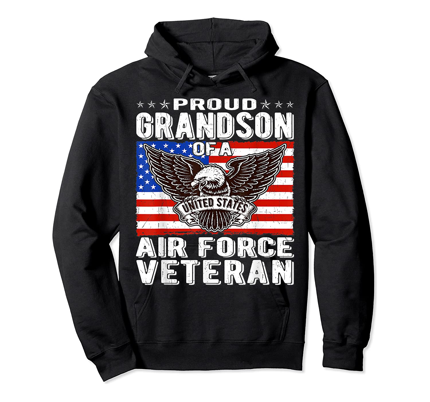 Proud Grandson Of Air Force Veteran Patriotic Military Gifts Shirts Unisex Pullover Hoodie