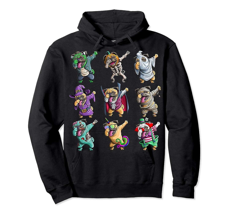 Funny Pug Halloween Pug Pumpkin Dabbing Pug Unicorn Witch Shirts Unisex Pullover Hoodie